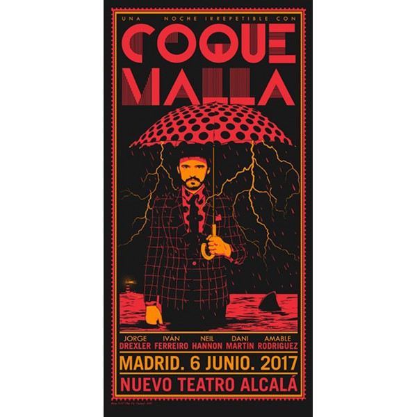 "CARTEL COQUE MALLA ""NOCHE IRREPETIBLE"""